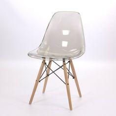 Eames DSW, Designer Esszimmerstuhl ohne Armlehne Base Holz. Kunststoff Top. Transparent
