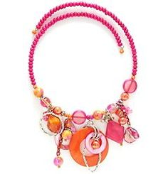 Aris by Treska Pink & Orange Frontal Coil Necklace