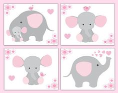 Pink and gray elephant wallpaper border wall art decals for baby girl safari jungle animal nursery decor. Add matching wall art prints and baby's first year scrapbook pages. One set includes four sticker sheets.
