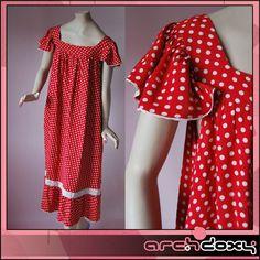 Vintage 1960s Smock Dotty Red & White Polka Dot Print BOHO Frilled Dress UK14