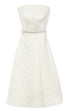 Strapless Dress In Flower Brocade by Rochas Now Available on Moda Operandi