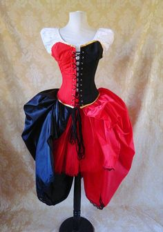 Harley Quinn/Queen of Hearts corset outfit, whole Halloween outfit, ready to ship-to fit natural 33-35 inch waist. $259.00, via Etsy.
