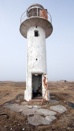 An abandoned lighthouse in the village of Ihasalu, Harju County, Estonia.