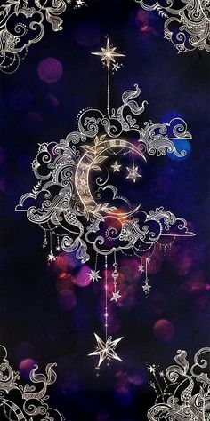 Black and purple moon stars