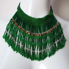 Stunning Vintage Art Deco Green Glass Beaded Fringed Necklace Waterfall Necklace Choker Necklace Bib Necklace 1920's Flapper 1930's by VintageBlackCatz on Etsy