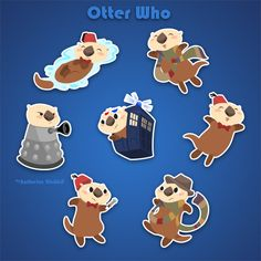 Doctor Who Sea Otter MINI Sticker Pack by FluffinsByKat on Etsy, $3.00