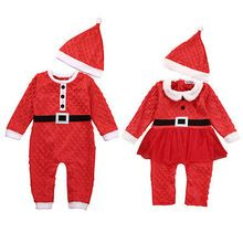2Pcs suit !! Christmas Newborn Baby Boys Girls Santa Claus Rompers Hat Outfits Set 0-24M(China (Mainland))