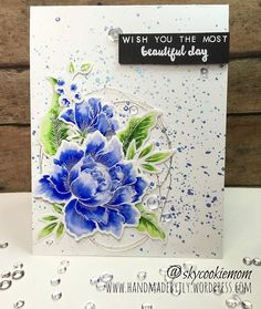 JLY: Altenew Peony and Beautiful Day (sentiment) stamp sets; Zig Pens blended with Spectrum Noir Clear Sparkle pen Blue Peonies, Peonies Bouquet, Blue Flowers, Card Making Inspiration, Making Ideas, Altenew Cards, Marianne Design, Pretty Cards, Copics