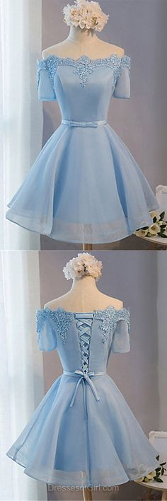 Off the Shoulder Prom Dress, Short Sleeve Prom Dresses, Organza Homecoming Dress, Satin Homecoming Dresses, Light Sky Blue Cocktail Dresses