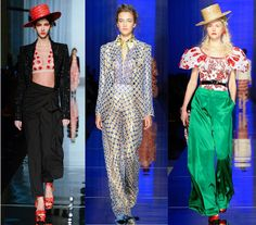 Jean Paul Gaultier. Jean Paul Gaultier's Spring 2017 Couture Collection was a fierce lineup of looks which included big shoulders, slim-hip silhouettes and draped designs.  The looks were complete with an abundance of flowery prints, appliques and embellishments.  Accessories were blooming with large fabric and leather 3-D florals which hung boldly from earrings, necklaces and hair accessories. Other accessories included oversized boater straw hats and printed platform sandals.