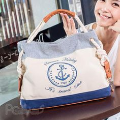This is the bag of my dreams!  Buy 'PG Beauty � Anchor Printed Rope Strap Satchel' at YesStyle.com.hk plus more Taiwan items and get Free Shipping on qualifying orders.