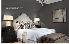 Master bedroom in Gauntlet Gray by Ralph Cadenhead via Traditional Home. Photo by Werner Straube. Gray Bedroom Walls, Bedroom Orange, Bedroom Wall Colors, Grey Walls, Bedroom Decor, Master Bedroom, Bedroom Ideas, White Bedroom, Blue Bedrooms
