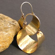 Handmade Hammered Brass Hoops  With  Sterling Silver -  Basket Hoop Earrings - Metalwork Jewelry