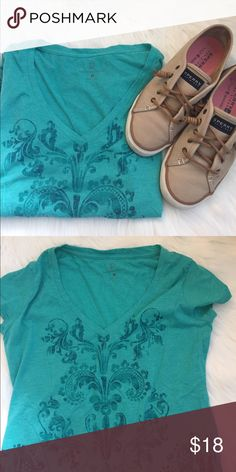 NEW YORK AND CO Dressy V-Neck T-Shirt Fun, light green v neck t shirt in Excellent Used Condition.   Very soft material. NY&C Tops Tees - Short Sleeve