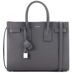 Saint Laurent Sac De Jour Small Leather Tote (167.725 RUB) ❤ liked on Polyvore featuring bags, handbags, tote bags, grey, gray leather purse, leather tote bags, tote purses, handbags totes and leather handbags