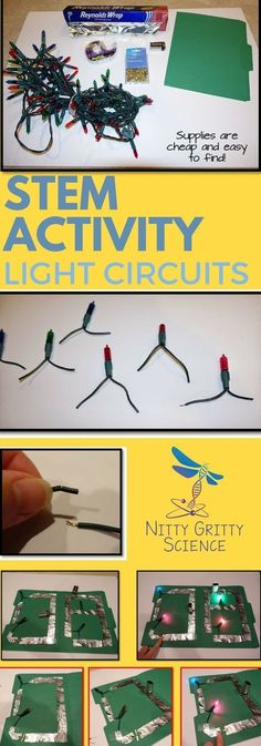 Light Circuits: Depending on the grade level of the students, you can have them build a very simple circuit or a very complex circuit with both series and parallel circuits combined. For my students I have them use file folders in order to design and buil Stem Science, Science Classroom, Science Lessons, Science Education, Teaching Science, Science For Kids, Earth Science, Science Space, Steam Activities
