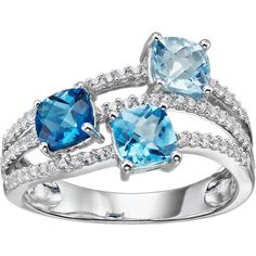 Sterling Silver Blue Topaz & Lab-Created White Sapphire Ring ($250) ❤ liked on Polyvore featuring jewelry, rings, blue, blue ring, sterling silver white sapphire ring, round ring, cushion cut ring and blue jewelry