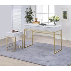 Shop for Coleen White/Brass Desk starting at at our furniture store located at 3583 Cedar St. Acme Furniture, Office Furniture, Furniture Removal, Furniture Stores, Cheap Furniture, Discount Furniture, Furniture Deals, Luxury Furniture, Home Office Decor
