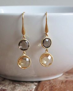'Erin' 18K Gold Plated Earrings: Smoky Quartz & Citrine. www.eight5two.com