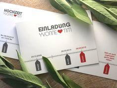 """Einladungskarte """"Zeitstrahl"""" Modern zur Hochzeit Cards Against Humanity, Create Quotes, Invitations, Birth, Nice Asses"""