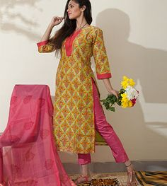 Salwar Set Good Evening By Suvasa - PC - 1158, Block printing on textiles is the process of printing patterns on textiles, usually of linen, cotton or silk, by means of incised wooden blocks. It is the earlies