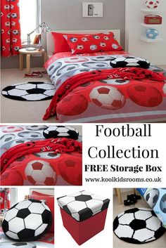 Red Football Themed Bedroom by Catherine Lansfield - Includes 6 items, red football single duvet cover, red football curtains, red football fleece blanket, black & white football rug & cushion, football storage box.