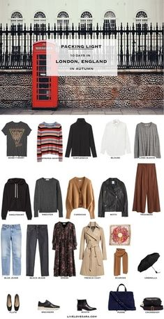 What to pack for London packing list London Outfit Ideas What to Wear in London UK Packing list What to wear in Uk UK Outfit Ideas Europe Packing List Packing Light Capsule Wardrobe travel wardrobe Fall packing list travel capsule livelovesara Europe Travel Outfits, Fall Travel Outfit, Europe Packing, Travel Packing, Backpacking Europe, Vacation Travel, Travel Europe, Travelling Outfits, Europe Budget
