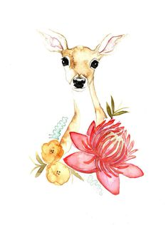 Limited Edition // Fawn & Flora by AlexzandraFajardoArt on Etsy