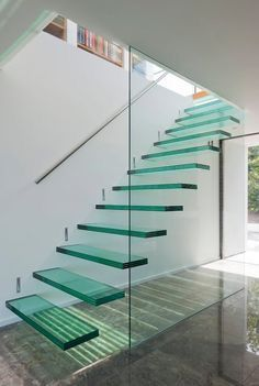 Clear glass stairs.