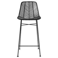Chaise de bar en rotin et pied métal Bloomingville - Noir