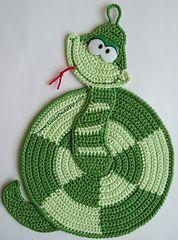 Ravelry: 015 Snake Potholder decor Ravelry pattern by LittleOwlsHut