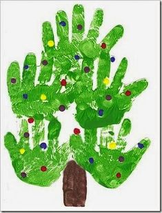 Handprint Xmas Tree (How To) - Kids Christmas Craft Ideas Handprint Christmas Tree, Preschool Christmas, Christmas Crafts For Kids, Xmas Tree, Christmas Projects, Christmas Themes, Winter Christmas, Holiday Crafts, Holiday Fun