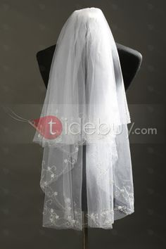 Charming Elbow Tull Wedding Bridal Veil with Beads