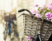 http://www.etsy.com/treasury/MTI5MzE1Mzl8MjcyMjgzMjczNg/summer-in-pink  Bicycle basket print, pastel pink summer flowers, dreamy, pale, romantic fine art photography,  Oht 8x12