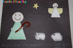 This cute shepherds and angels craft helps children remember the Christmas story of the angles visiting the shepherds from the Jesus Storybook Bible.