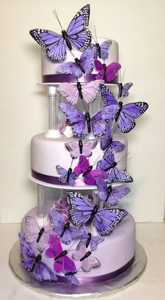 Butterfly wedding cake. 3 tiered cake covered in shades of purple fondant. Purple butterflies cascading up the front of the cake.
