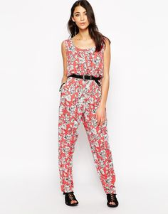 Image 1 of Brave Soul Sleeveless Tropical Print Jumpsuit
