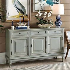Shop for a stylish sideboard or kitchen pantry storage buffet. Find your favorite casual table or server for the dining room, behind a sofa or in the entry. Shop sideboards and kitchen and kitchen storage furniture at Ballard Designs today! Credenza Decor, Living Room Decor, Bedroom Decor, Entryway Decor, Living Area, Muebles Shabby Chic, Raised Panel Doors, French Style Homes, European Home Decor
