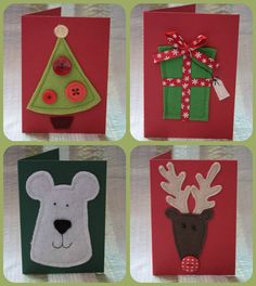 Pack 4 of large felt Christmas cards £9.00