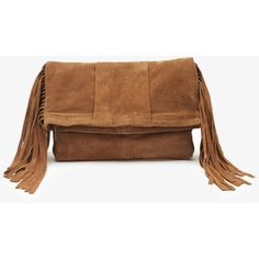 Forever 21 Fringed Genuine Suede Clutch (39 CAD) ❤ liked on Polyvore featuring bags, handbags, clutches, purse, brown leather purse, brown handbags, forever 21 purse and suede fringe purse