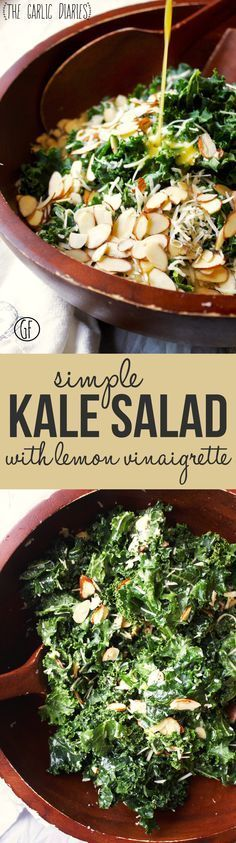 "Simple Kale Salad with Lemon Vinaigrette - If you think you are a ""raw kale hater,"" you need to try this salad. It is seriously, seriously delicious! -- http://TheGarlicDiaries.com"