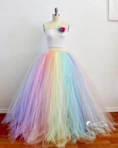 rainbow dress wedding dress diy tulle skirts Pastel Rainbow Maxi Tulle Skirt, Puffy Rainbow Tutu, Alternative Wedding Skirt, Plus Size Tulle Skir Rainbow Wedding Dress, Wedding Skirt, Modest Wedding, Wedding Dresses, Party Dresses, Diy Tulle Skirt, Tulle Dress, Long Tulle Skirts, Long Tutu Skirt