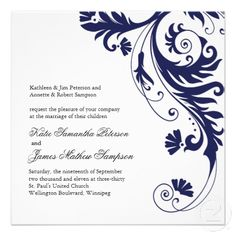 Navy Blue Wedding Invitations   I adore scrollwork things like this!