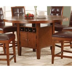 Modus Furniture International Hudson Dining Counter Top Round Table With Wine Storage In Mocha