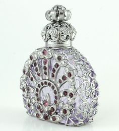 Vintage Bohemian Perfume Bottle Old Silver Tone Filigree Pink Glass And Crystal op Etsy, 23,05 €