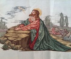 """Completed Counted Cross Stitch. Stitch Count: 186w x 117h. Size: 13.5"""" x 11.5"""" jesus in the gardem christian religious"""