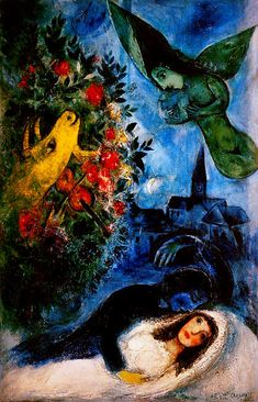 The great Jewish Russian painter, Marc Chagall found his greatest inspiration in his wife, Bella. Marc Chagall, Artist Chagall, Chagall Paintings, Oil Paintings, Jewish Art, Art Moderne, Henri Matisse, Pablo Picasso, French Artists