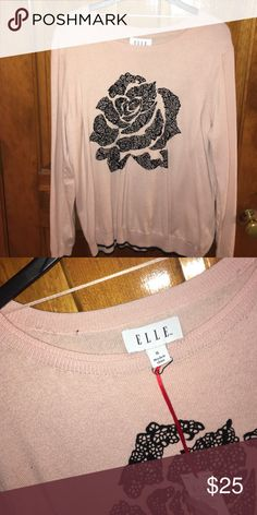 Long-sleeved baby pink sweater Black laced rose design; brand new with tags Elle Sweaters Crew & Scoop Necks