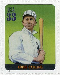 """Eddie Collins, """"Cocky"""" Collins, jugó beisbol durante 25 temporadas, un récord para aquellos que no son lanzadores. Su brillante forma de correr bases y batear le ayudó a 4 equipos diferentes a ganar la Serie Mundial. Estados Unidos, 2000 Eddie Collins Leyendas del Beisbol"""