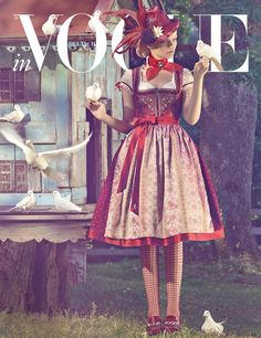 Sacha Höchstetter by Production Paradise Vogue Magazine Covers, Vogue Covers, German Costume, Oktoberfest Costume, Dirndl Dress, Japanese Street Fashion, Couture, Editorial Fashion, Girl Fashion